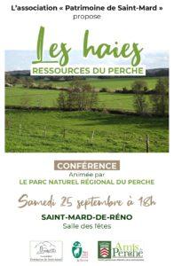 Affiche conférence Saint-Mard Patrimoine, 25 septembre 2021, les Haies, ressources du Perche
